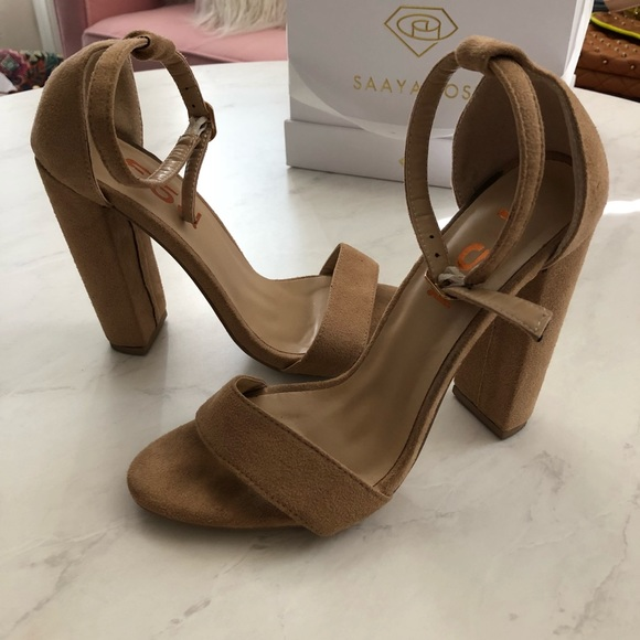 Shoes - Beige Ankle Strap Suede Heels